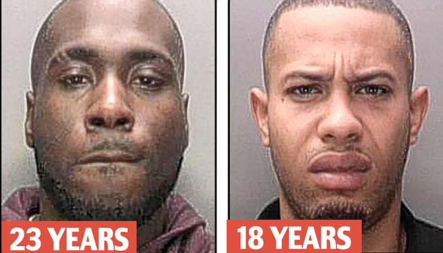 Guilty: Jermaine Lewis, 27, was jailed for 23 years for shooting at police officers during last summer's riots in Birmingham while Wayne Collins, 20, received an 18 year sentence