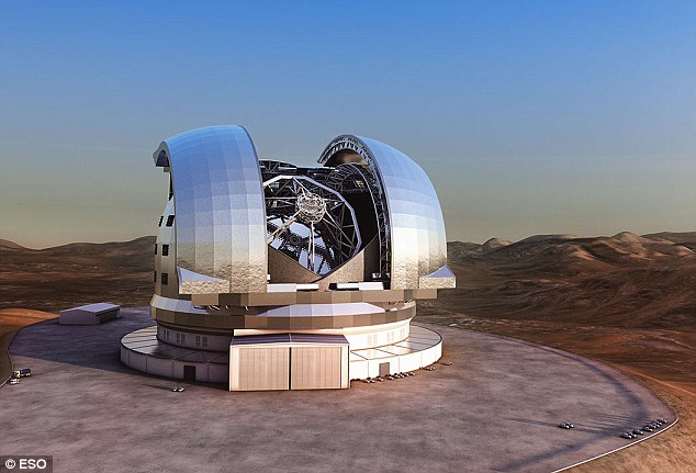 An artist's impression of the European Extremely Large Telescope on Cerro Armazones, a 3,060-metre mountaintop in Chile's Atacama Desert: For comparison, look at the size of the cars