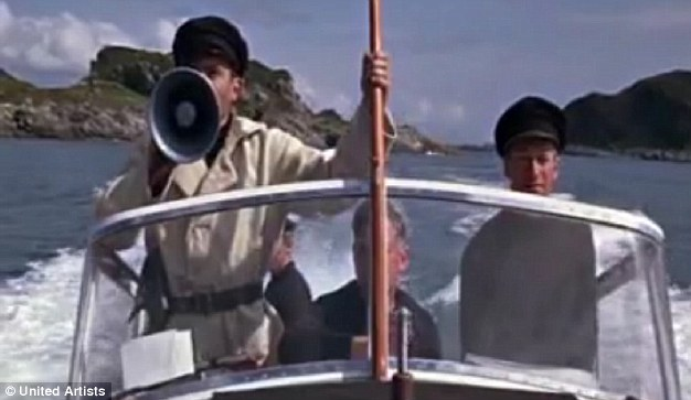 Peter Twiss (right) drives villain Morzeny's boat in From Russia With Love