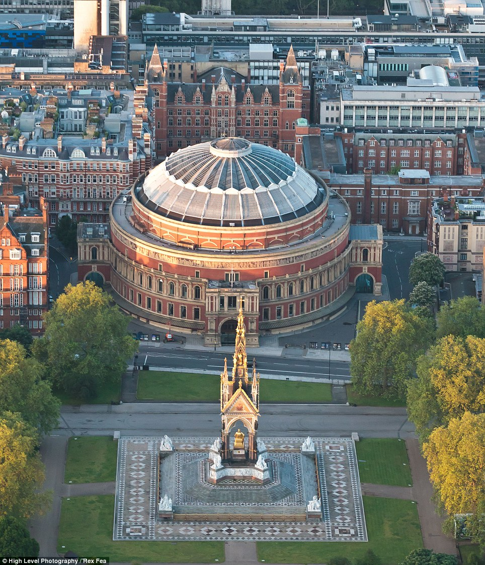 As well as capturing the new addition to London's skyline in The Shard, the helicopter hovering above London this morning also photographed the Royal Albert Hall and Memorial
