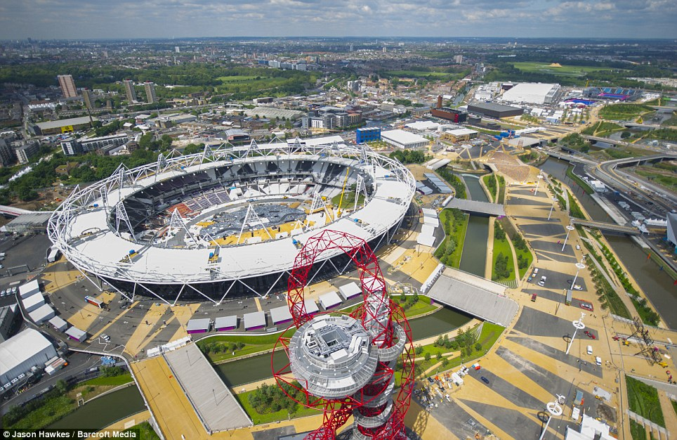 The helicopter also captured stunning aerial views of a new focal point of the London skyline, the Olympic Stadium