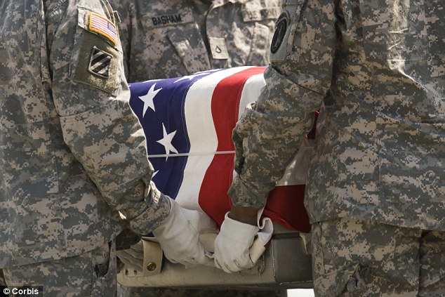 Climbing deaths: American troops are committing suicide at an average rate of nearly one a day in the first 155 days of this year, with a military casket and soldiers pictured