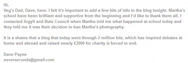 Message posted on the blog from Martha's father Dave
