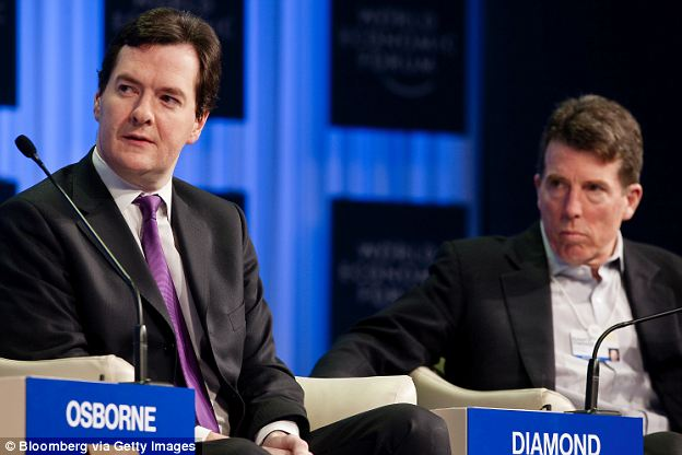 George Osborne, U.K. chancellor of the exchequer, left, and Bob Diamond, chief executive officer of Barclays Plc, participate in a session on the fourth day of the World Economic Forum (WEF) Annual Meeting 2011 in Davos, Switzerland
