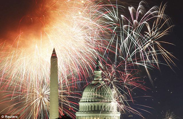 Spectacular: Last year's July 4 fireworks light up the sky over the United States Capitol dome and the Washington Monument in Washington