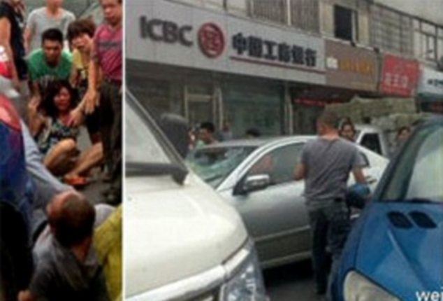 Devastated: Du (left) will require plastic surgery after the attack on a crowded Chinese street (right)