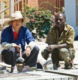 On the job: Chinese building workers in Zambia