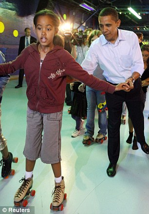 Skater girl: Malia roller-skates with Barack Obama in Indiana, May 3, 2008