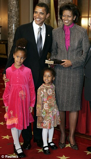 Velvet and valor: The family stands for a photo on January 4, 2005