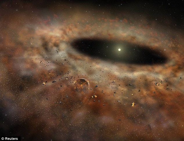 An artist's impression of the dust circling the star shows how it could have looked before the dust disappeared