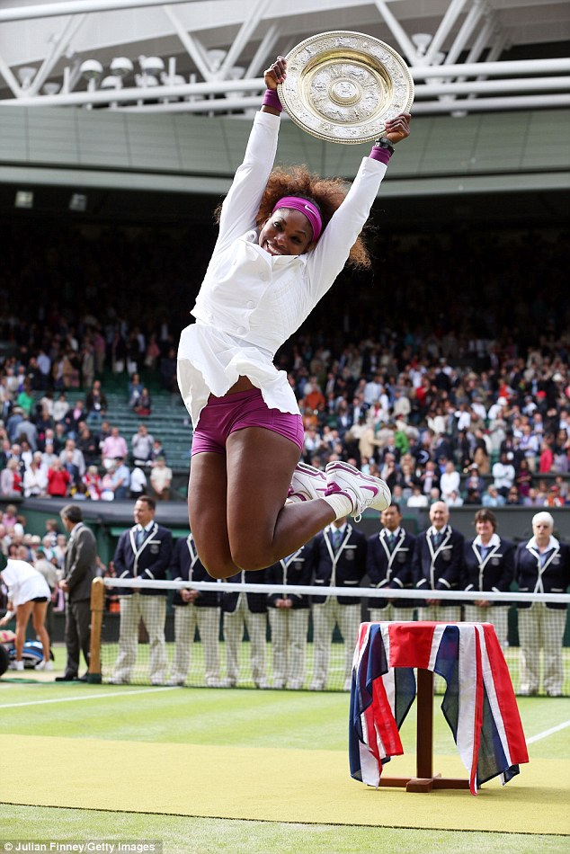 Serena Williams literally jumps for joy as she beat Poland's Agnieszka Radwanska in the Wimbledon women's final, taking the title for the fifth time to match her sister Venus's record at the Championships