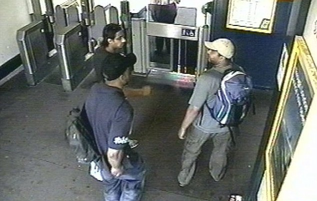 Death squad: Shehzad Tanweeer, Jermaine Lindsay and Mohammad Sidique Khan with their rucksacks at Luton railway station on a dry run of a terror attack