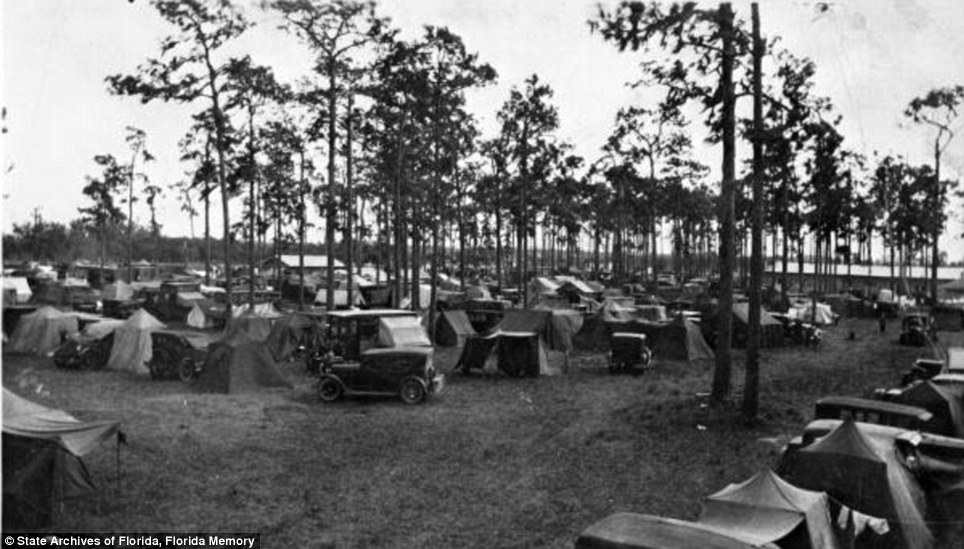 Settling in: Three thousands campers set up tents in Arcadia, Florida in 1929. The tin can tourists of the 1920s pioneered camper travel