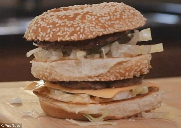 Homemade: The finished product, pictured, looks very little like the burgers served up in store