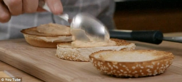 Dollop: The unspecial sauce is spread on the layers of toasted bun, pictured