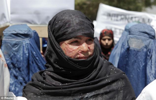 Looking to the world: Mumtaz Bibi, 16, was disfigured in an acid attack by a man she refused to marry. Today, in Kabul, she epitomised the struggle for women's rights in the country