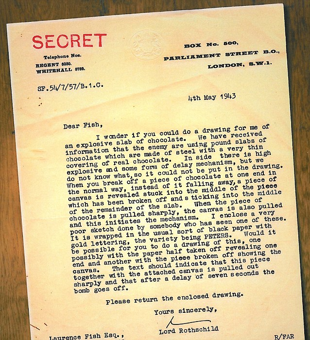 Lord Rothschild typed a letter to a talented illustrator seconded to his unit asking him to draw poster-size images of the chocolate to warn the public to be on the look-out for the bars