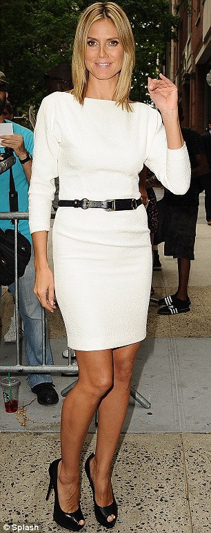 The streets are her runway: Heidi Klum appeared outside Live with Kelly and Good Morning America in New York City