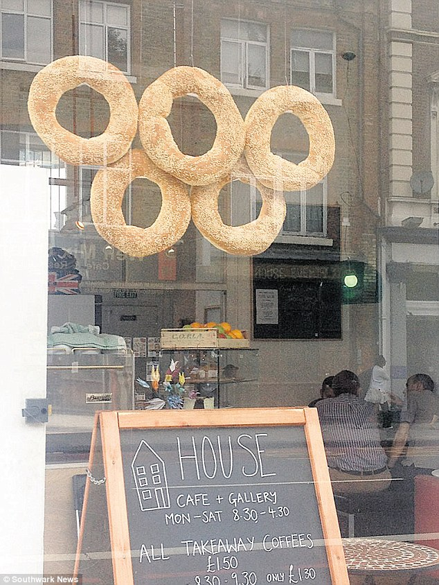 Pride: The bagels were put up ahead of the Olympic torch relay, which will pass by at the weekend