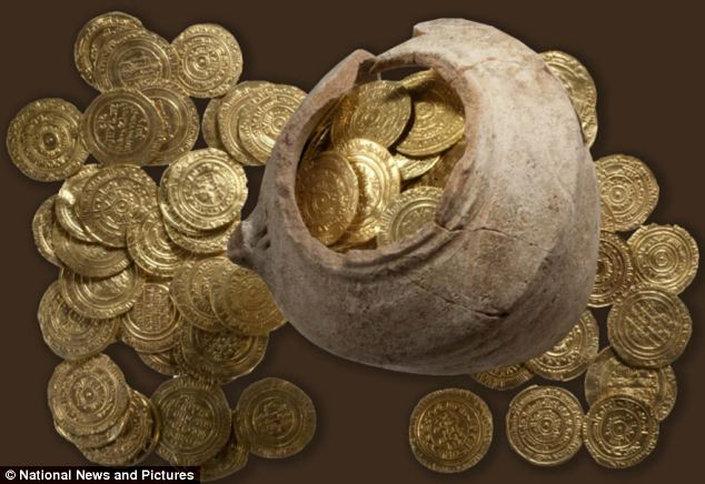 Glinting: The 108 ancient coins found under the ruins form one of the biggest collections ever discovered in Israel