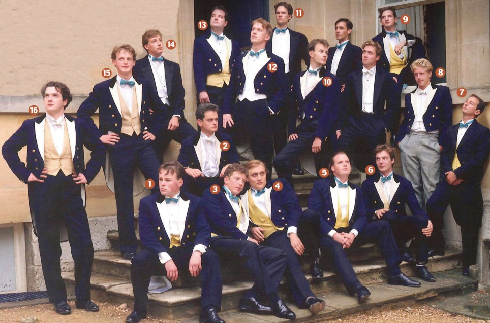The Oxford elite: The Bullingdon Club members in 1993 - George Osborne is pictured on the far left next to his swaggering chums