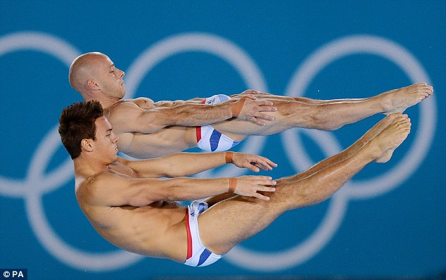 Daley (nearside) and Waterfield stretch out on one of their early dives