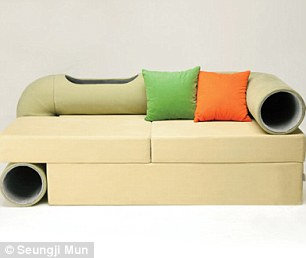 Innovative: The sofa has a long connecting tunnel that also acts as an arm rest and back support