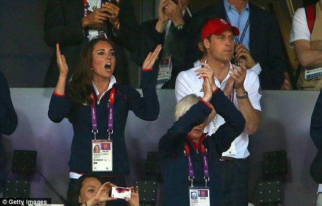 Royal acclaim: Catherine, Duchess of Cambridge and Prince William, Duke of Cambridge cheer on Mo Farah