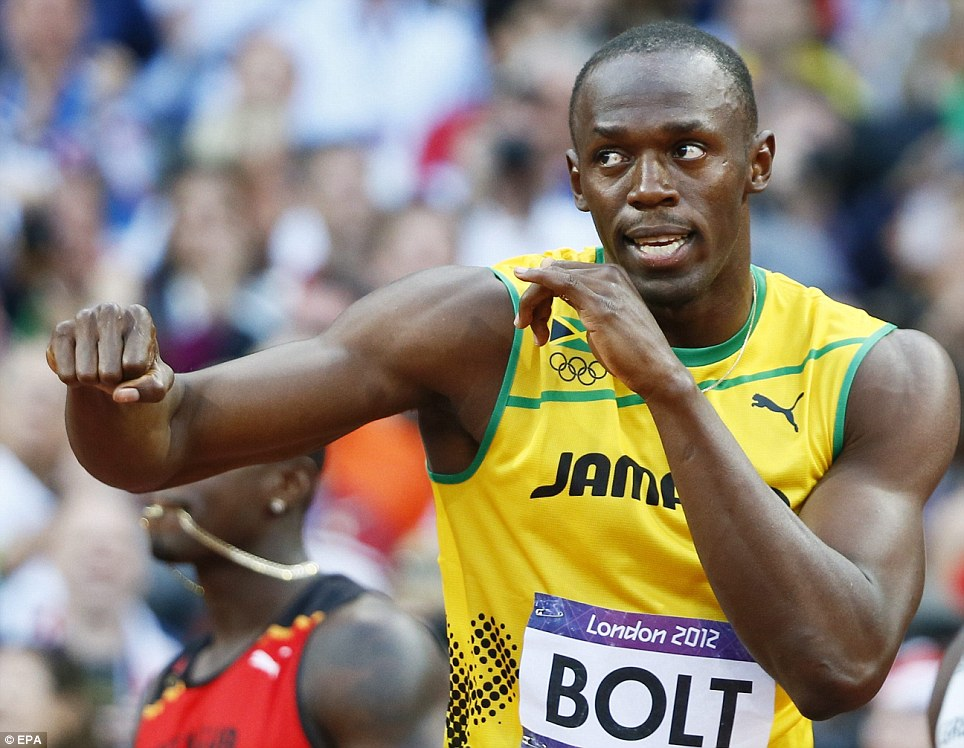 Fighting fit: Usain Bolt, who had been troubled by a hamstring injury, claimed he was only 95 per cent fit but he looked in fine condition before the eagerly awaited sprint final