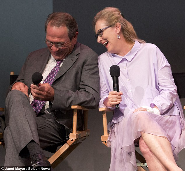 Give her a big hand: Meryl Streeo attended a panel for her latest film Hope Springs along with Tommy Lee Jones in New York today despite suffering a nasty injury