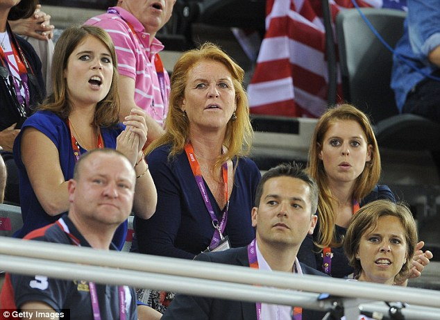 Sarah Ferguson and her daughters Princess Eugenie and Princess Beatrice look on as Team GB goes for three golds in the velodrome on Tuesday night