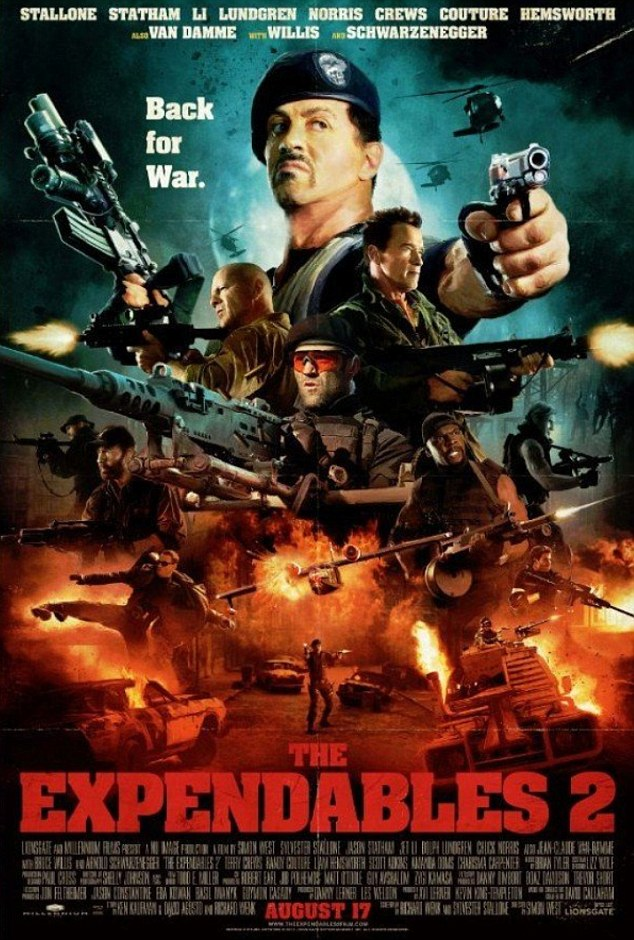 Hitting screens: The next film in the franchise, The Expendables 2, is due to hit cinema screens in the UK on 17 August