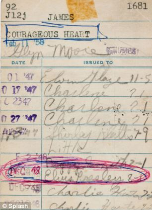 Making his mark: The library card signed by a 13-year-old Elvis Presley when he checked out a copy of The Courageous Heart: A Life of Andrew Jackson For Young Readers