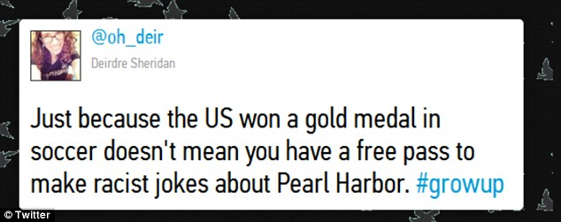 Hitting back: Some hit back at those posting tweets about Pearl Harbour however