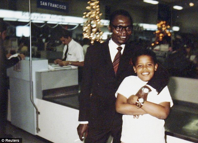 Barack Obama and his father Barack Obama Sr. at Honolulu airport after the only meeting that the U.S. President can recall over Christmas in 1971