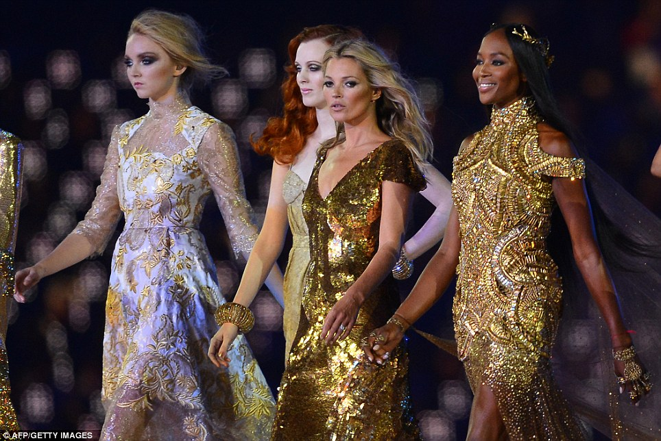 Supermodels Lily Cole, Karen Elson, Kate Moss and Naomi Campbell walk the catwalk in a show of British beauty and design