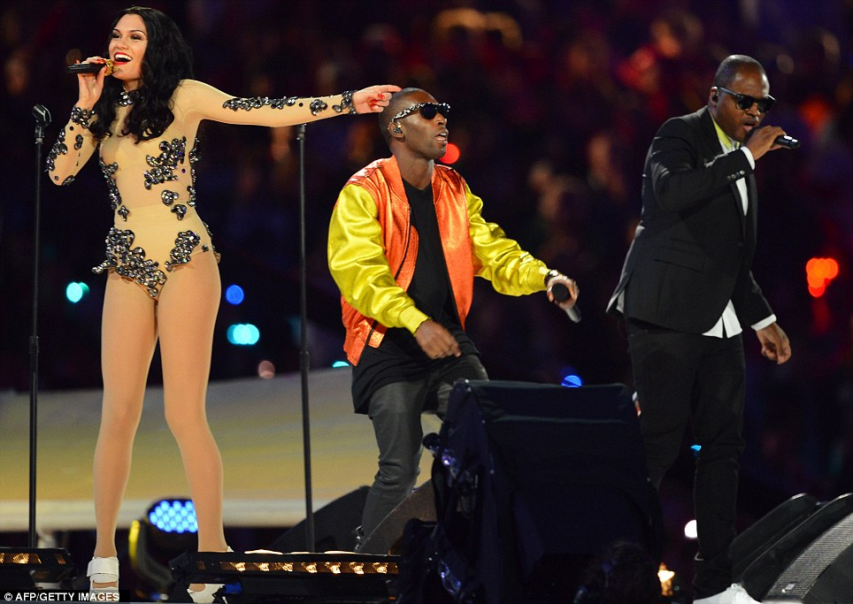Trio: Jessie J, Tinie Tempah and Taio Cruz perform during the closing ceremony