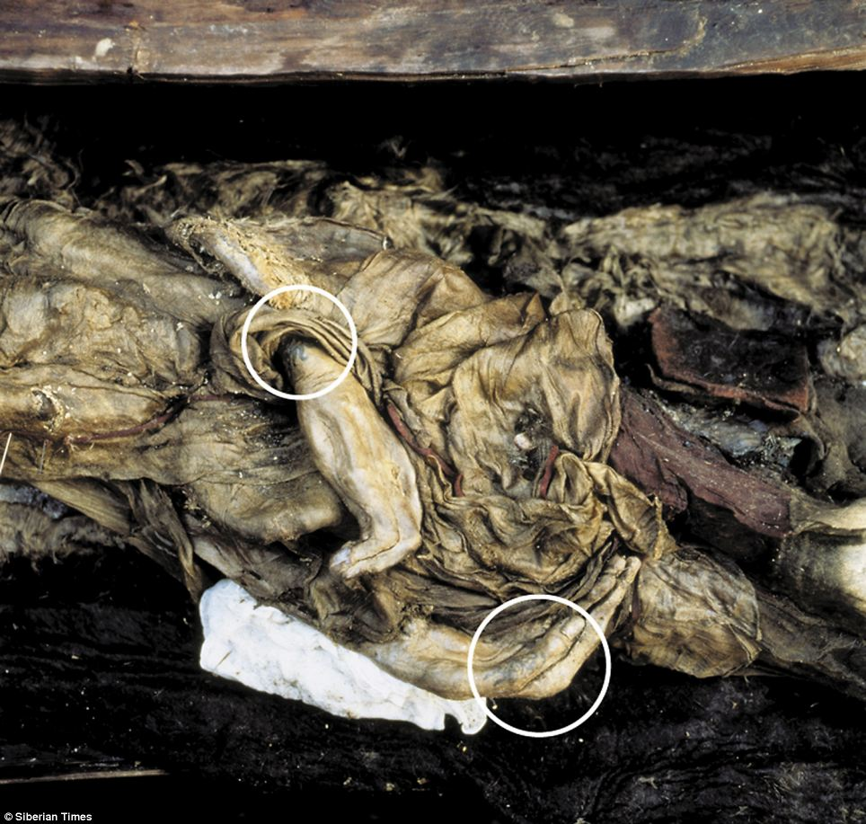 Princess Ukok's hand with marked tattoos on her fingers. She was dug out of the ice 19 years ago, and is set to go on public display in the Altai Republic.