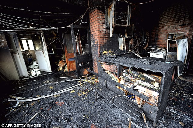 Smouldering ruins: The inside of the damaged primary school
