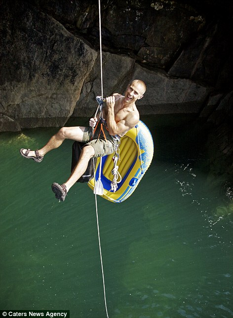 Neil Gresham, 41, scrambled up the 60-feet cliff known locally as the Forbidden Head, in Pembrokeshire, on July 30.