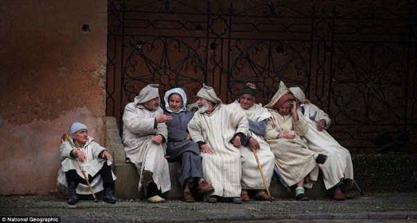 The Last Supper Of Da Vinci? No, they are just some old men of Chefchaouen with djellaba, sitting and talking each other