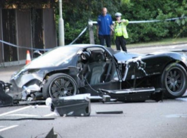 Wrecked: The remains of the Pagani Zonda William Baranos was driving. He was not thought to have been wearing a seat belt