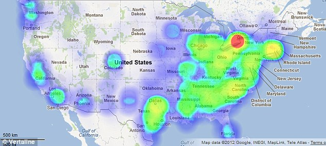 Naughty: Buffalo, New York, is bright red, showing an explosion of the use of 'f*** you' among tweeters in the city