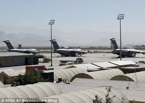 Target: Two insurgent rockets struck the vast Bagram air field, pictured, overnight
