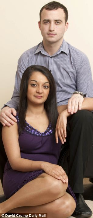 Assaulted: Shamina Akhtar and her partner Gary Pain were both beaten up by Shamina's siblings when she first kissed Gary at her 18th birthday party because they were racist bigots who dis approved of gary being a white non muslim