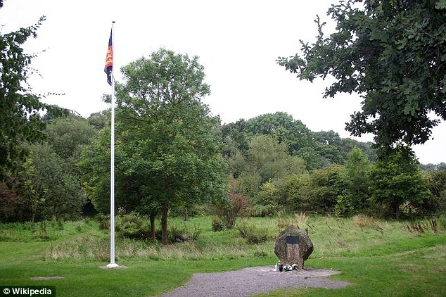 A flag and memorial stone mark Richard's Field, just northwest of Ambion Hill