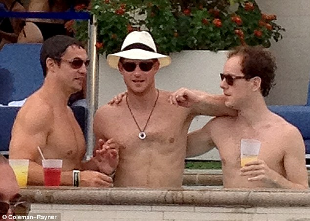 After partying in Necker, Prince Harry's group moved on to Las Vegas, where this photograph was taken. The prince's friend Tom Inskip is pictured on the right