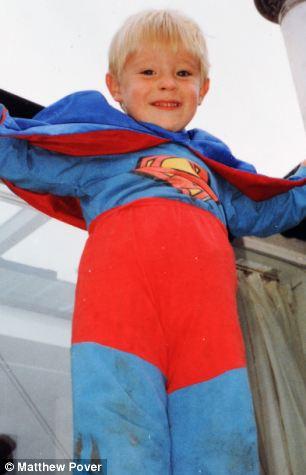 Superman: Ben Mudge dressed as Superman, aged 3