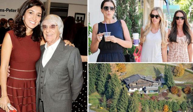 Wife No.3: Fabiana Flosi and Bernie Ecclestone were married at his Swiss ski chalet Le Lion while daugters are 6,000 miles away with mum in LA