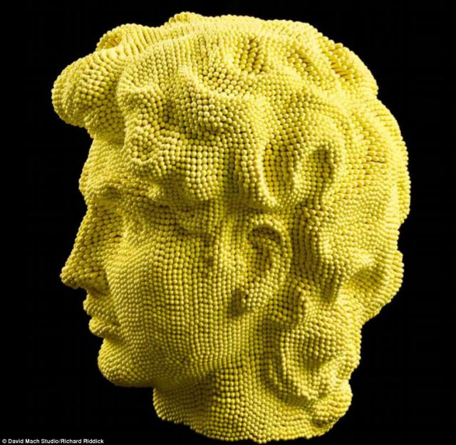 David on David: This sculpture made from yellow matches is a take on Michelangelo's famous David statue